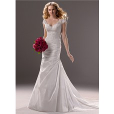 A Line Cap Sleeve V Neck Taffeta Lace Wedding Dress With Low Back Buttons