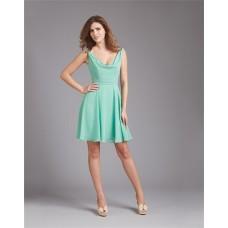 A Line Cowl Neck V Back Short Mint Green Chiffon Wedding Guest Bridesmaid Dress