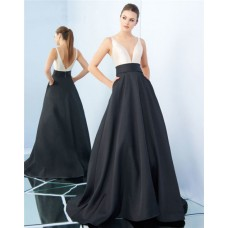 A Line Deep V Neck Black And White Satin Evening Prom Dress With Pockets