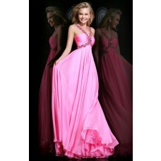 A Line Empire Waist Long Hot Pink Chiffon Draped Prom Dress With Beading Straps