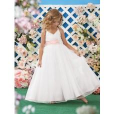 A Line Halter White Organza Wedding Flower Girl Dress With Pink Sash Flowers
