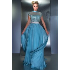 A Line High Neck Cap Sleeve V Back Long Blue Chiffon Sequin Occasion Prom Evening Dress