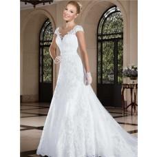 A Line Illusion Neckline Sheer Back Cap Sleeve Tulle Lace Wedding Dress Beading Belt
