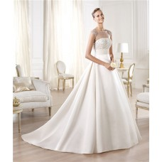 A Line Illusion Neckline Sheer Back Cap Sleeve Tulle Satin Beaded Wedding Dress