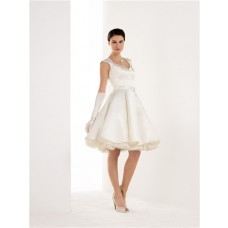A Line Keyhole Open Back Tulle Satin Short Wedding Dress With Sash
