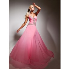 A Line One Shoulder Long Pink Chiffon Party Prom Dress With Beading