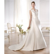 A Line Open Neckline V Back Satin Wedding Dress With Belt Removable Train