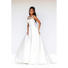A Line Princess Illusion Neckline Low Back Long White Taffeta Evening Prom Dress