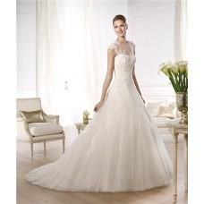 A Line Princess Sheer Illusion Neckline Cap Sleeve Beaded Lace Tulle Wedding Dress