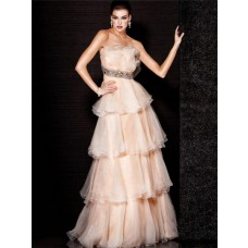 A Line Princess Strapless Long Nude Tulle Tiered Evening Dress With Ruffles