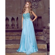 A Line Princess Sweetheart Empire Waist Long Blue Chiffon Draped Prom Dress With Beading