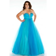A Line Princess Sweetheart Long Blue Tulle Beaded Plus Size Evening Prom Dress