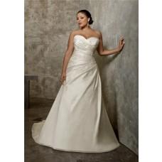 A Line Princess Sweetheart Ruched Taffeta Lace Plus Size Wedding Dress Corset Back