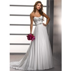 A Line/Princess Sweetheart Beading Chiffon Wedding Dress With Crystals Sash