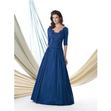 A Line Scalloped Neck Royal Blue Taffeta Lace Sleeve Mother Of The Bride Evening Dress