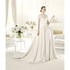 A Line Scalloped Neckline Open Back Long Sleeve Lace Satin Wedding Dress
