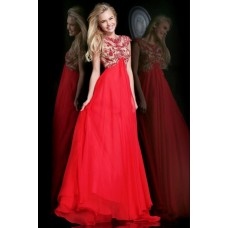 A Line Scoop Cap Sleeve Empire Waist Long Red Chiffon Beaded Prom Dress Open Back