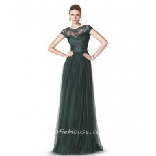 A Line Scoop Neck Cap Sleeve Dark Green Tulle Ruched Long Evening Dress