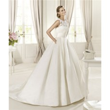 A Line Scoop Neck Keyhole Back Lace Satin Wedding Dress With Pockets