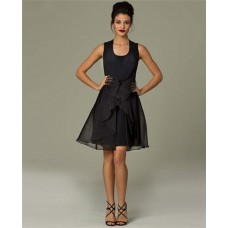 A Line Scoop Neck Short Black Chiffon Ruffle Party Evening Dress With Bow