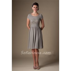 A Line Scoop Neck Short Sleeves Grey Chiffon Lace Bridesmaid Dress