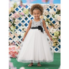 A Line Scoop White Black Tulle Lace Wedding Flower Girl Dress With Sash Flowers
