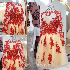 A Line Short Champagne Tulle Red Lace See Through Prom Dress With Sleeves