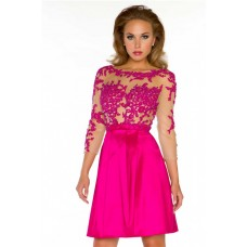 A Line Short Hot Pink Taffeta Lace Sheer Illusion Homecoming Prom Dress With Sleeve