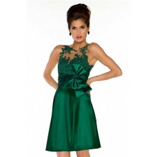 A Line Sleeveless Short Emerald Green Lace Illusion Homecoming Prom Dress With Bow