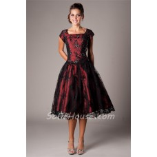 A Line Square Neck Tea Length Burgundy Satin Black Lace Modest Prom Dress