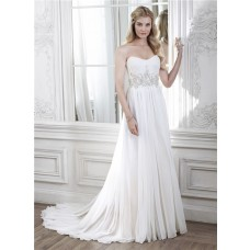 A Line Strapless Chiffon Beaded Beach Destination Wedding Dress
