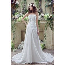 A Line Strapless Corset Back Chiffon Draped Destination Garden Wedding Dress