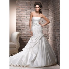 A Line Strapless Corset Back Ruched Taffeta Wedding Dress With Floral Sash
