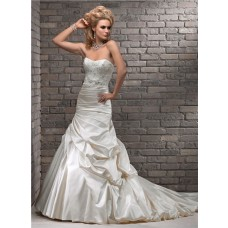 A Line Strapless Cream Beaded Lace Ruched Satin Wedding Dress With Sash