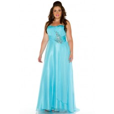 A Line Strapless Floor Length Aqua Blue Chiffon Beaded Plus Size Prom Dress