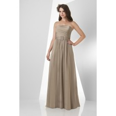 A Line Strapless Long Brown Chiffon Ruched Formal Occasion Bridesmaid Dress With Belt