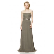 A Line Strapless Long Clay Chiffon Special Occasion Bridesmaid Dress Beaded Belt
