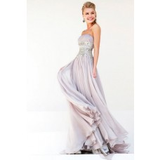 A Line Strapless Long Grey Chiffon Draped Beading Evening Prom Dress With Belt