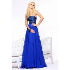 A Line Strapless Long Royal Blue Chiffon Beaded Crystal Evening Prom Dress