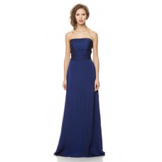 A Line Strapless Long Royal Blue Chiffon Ruched Special Occasion Bridesmaid Dress