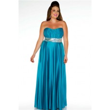 A Line Strapless Long Turquoise Silk Plus Size Evening Prom Dress With Sequins Sash