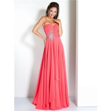 A Line Strapless Long Watermelon Chiffon Beaded Flowing Prom Dress