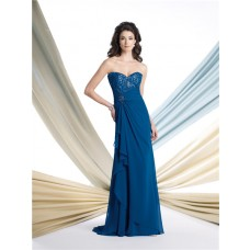 A Line Strapless Royal Blue Chiffon Ruched Mother Of The Bride Occasion Evening Dress