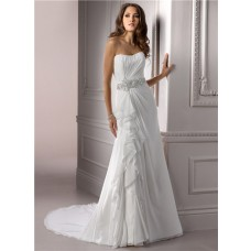 A Line Strapless Ruched Chiffon Wedding Dress With Swarovski Crystal Ruffle