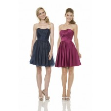 A Line Strapless Short Dark Navy Organza Wedding Party Bridesmaid Dress