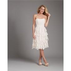 A Line Strapless Short Ivory Cream Chiffon Ruffle Wedding Guest Bridesmaid Dress