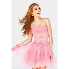 A Line Strapless Short Pink Tulle Lace Floral Sweet 16 Prom Dress