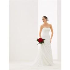 A Line Strapless Sweetheart Draped Chiffon Lace Beach Wedding Dress Corset Back