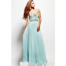 A Line Strapless Sweetheart Long Baby Blue Chiffon Beaded Evening Prom Dress