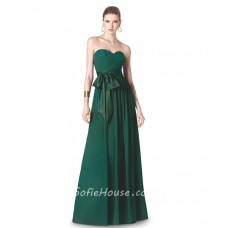 A Line Strapless Sweetheart Long Dark Green Chiffon Evening Dress With Sash Bow